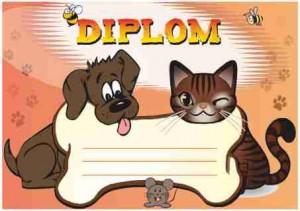 Diplom DL147 - dětský, pejsek a kočička