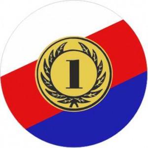Emblém barevný EM301 - česká trikolóra '1'