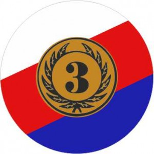 Emblém barevný EM303 - česká trikolóra '3'