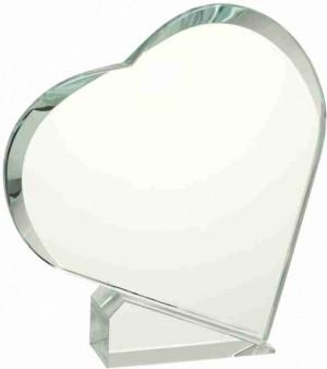 Skleněná plaketa GL037 srdce